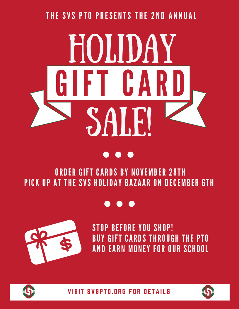 2018 SVS PTO Holiday Gift Card Flyer